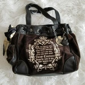 Juicy Couture brown velvet embroidered daydreamer